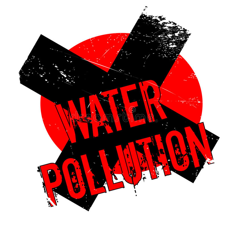 Water Pollution rubber stamp. Grunge design with dust scratches. Effects can be easily removed for a clean, crisp look. Color is easily changed vector illustration