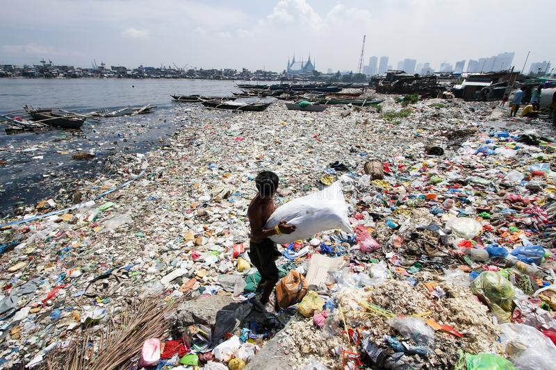 Water Pollution Sea of Garbage in Tondo, Philippines royalty free stock image