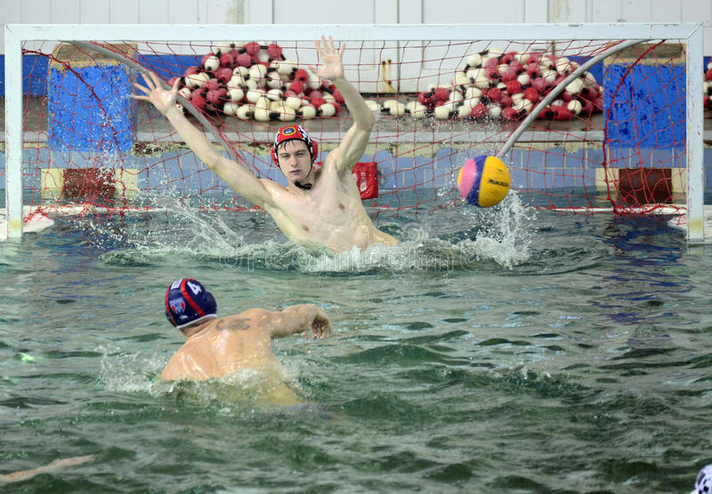 Water Polo Action. Water Polo player pictured during the Romanian A Division game between CS Sportul Studentesc and CSA Steaua Bucharest. Steaua won, 9-4 royalty free stock image