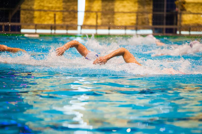 Water polo players. Water polo action in a swimming pool stock photography