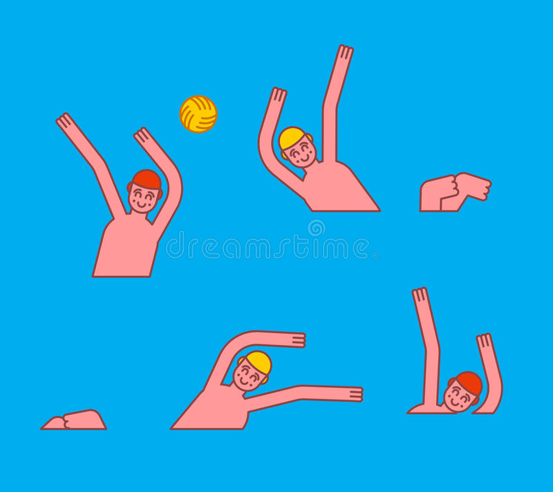 Water polo. Athletes play ball in water. Sports Waters games.  vector illustration