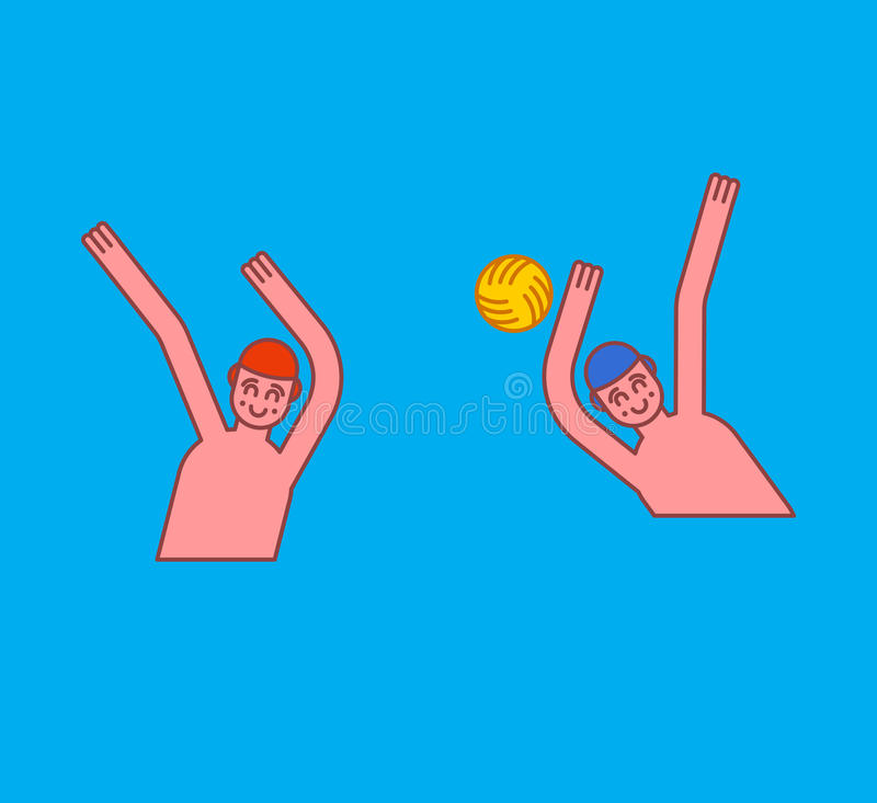 Water polo. Athletes play ball in water. Sports Waters games.  stock illustration