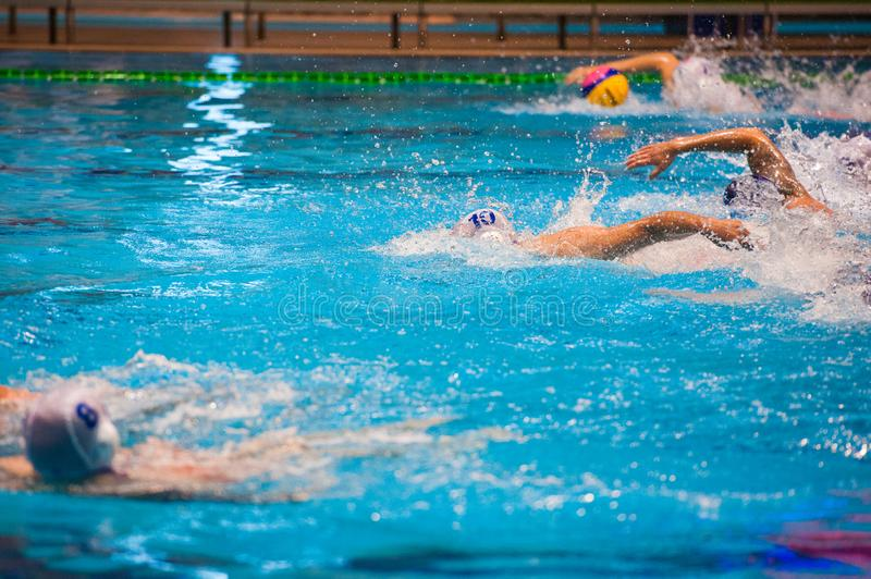 Water polo players. Water polo action in a swimming pool royalty free stock photography