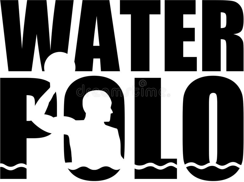 Water polo word with silhouette cutout royalty free illustration
