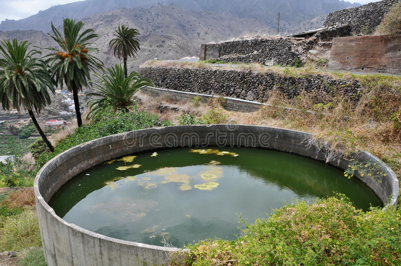 A Water Pond for Agriculture. In La Gomera Island stock photos