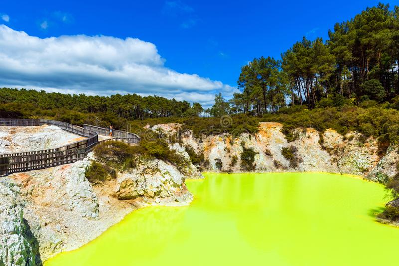 Water pond, made yellow by sulfur in Wai-O-Tapu Geothermal Wonderland, Rotorua, New Zealand. Copy space for text.  royalty free stock images