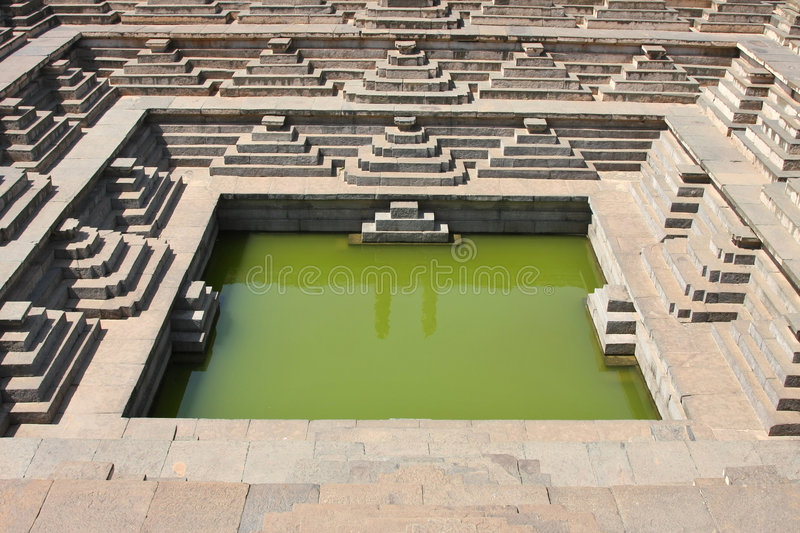 Water pool near temple stock images