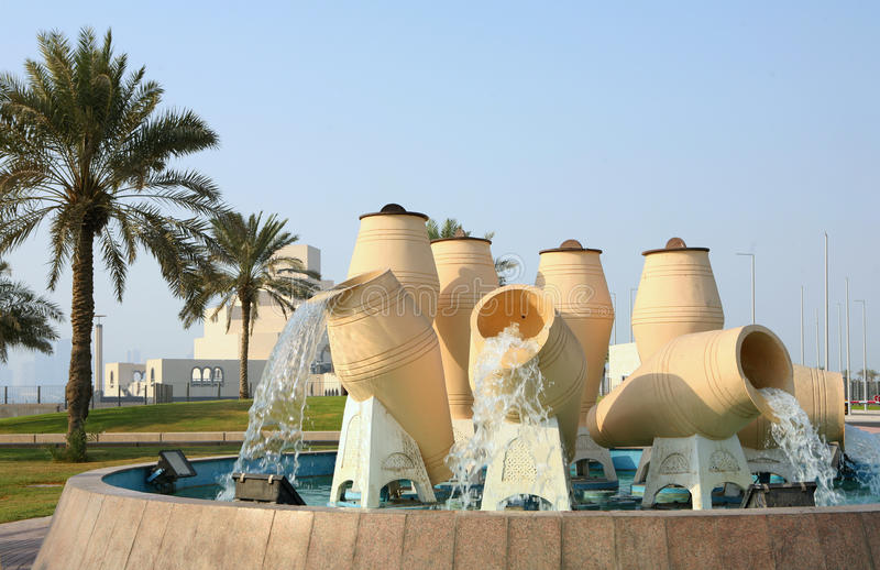 Water pot feature, Doha, Qatar stock images