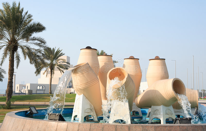 Water pot fountain Doha royalty free stock photo