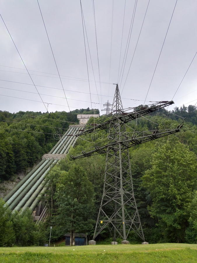 Download Water Power Plant - Water Pipes And Power Pole Stock Image - Image: 57058699