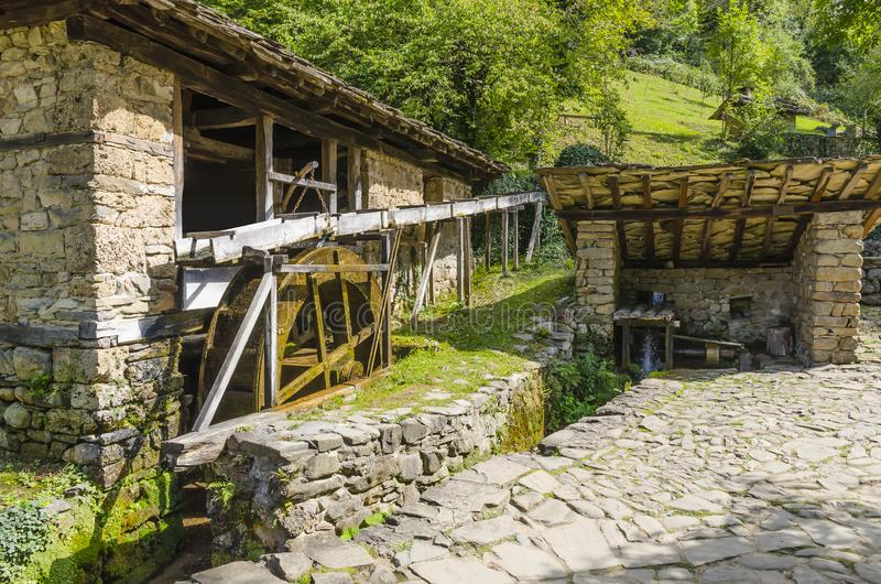 The water-powered fulling mill. Etar/Gabrovo/Bulgaria - September 10, 2018. The water-powered fulling mill in the Architectural And Ethnographic Complex Etar royalty free stock image