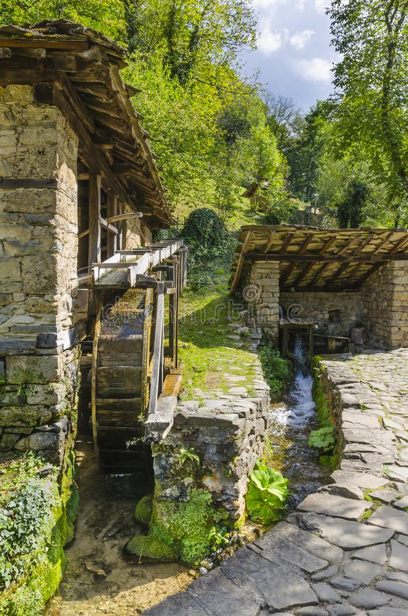 The water-powered fulling mill. Etar/Gabrovo/Bulgaria - September 10, 2018. The water-powered fulling mill in the Architectural And Ethnographic Complex Etar stock image