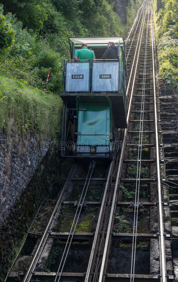 Water-powered funicular between the villages of Lynton and Lynmouth. Lynmouth, Devon, England, 13 July 2016: water-powered funicular between the villages of royalty free stock photography
