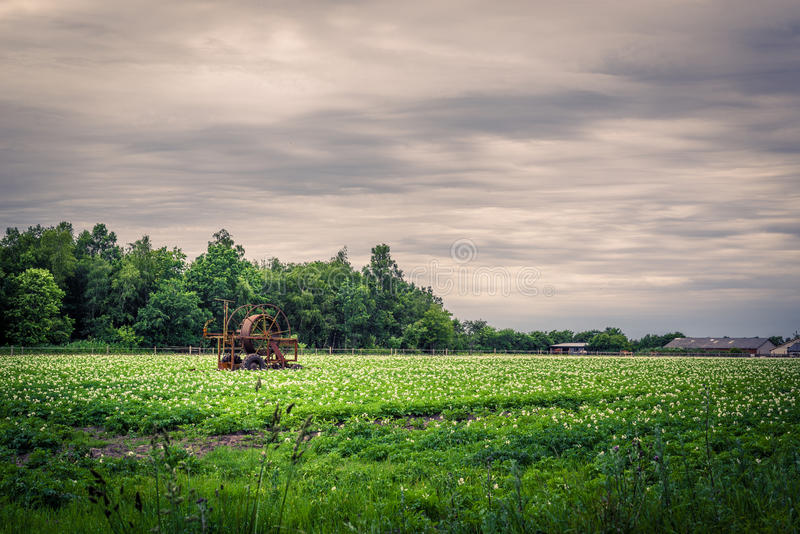 Water pump on a green field in dark weather stock image