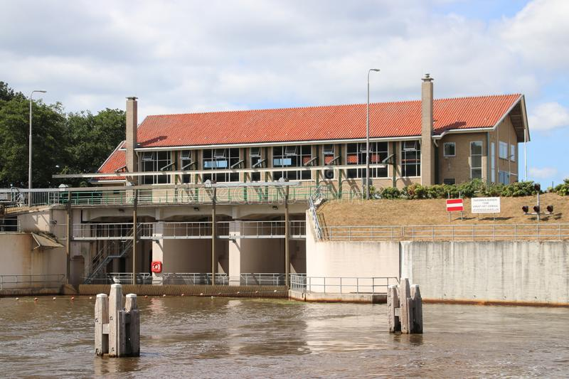 Water pumping station named Buma in the city of Lemmer to keep the Noordoostpolder dry. Water pumping station named Buma in the city of Lemmer to keep the royalty free stock images