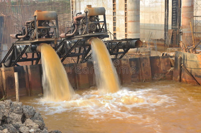 Download Water Pumps Were Working At The Construction. Stock Photo - Image: 30268588