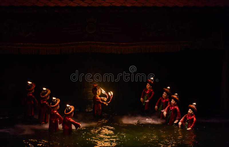 Water puppet show in Hanoi, Vietnam stock photos