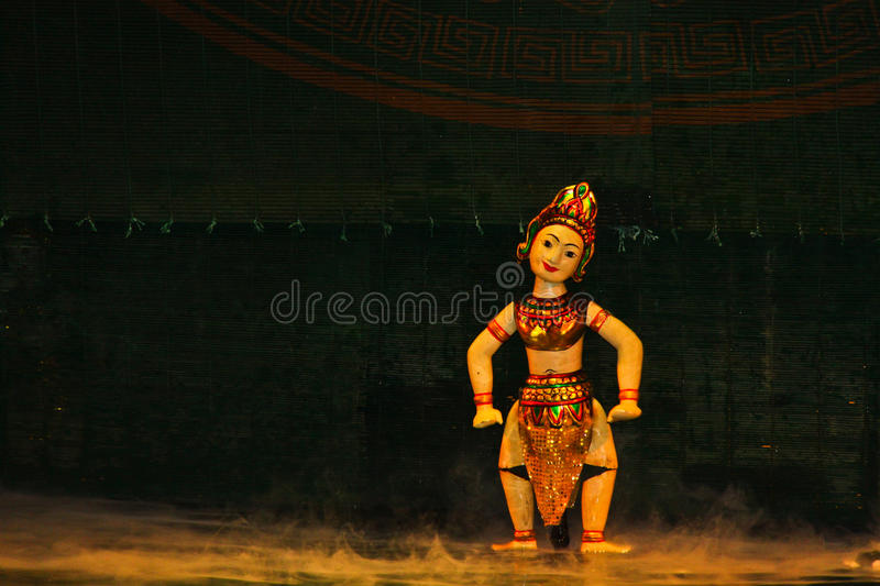 Water Puppets, Hanoi, Vietnam. Water puppet show at Thang Long Theater stock photo