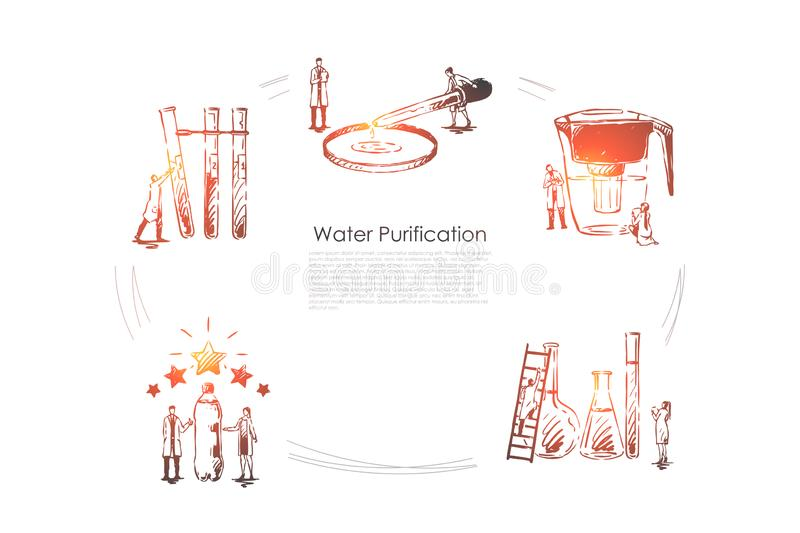 Water purification - devices for purification water pipette, flask, bottle, filter vector concept set. Hand drawn sketch isolated illustration royalty free illustration