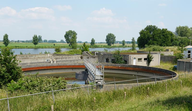 Water purification facility. Settling tanks in a water purification facility in the Netherlands stock image