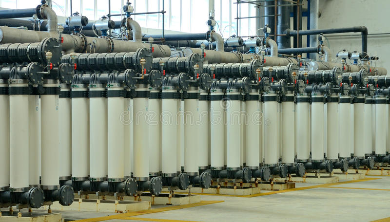 Water purification factory. Water purification technology used in the factory stock images