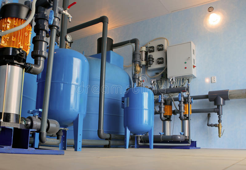 Water purification filter equipment. In plant workshop royalty free stock image