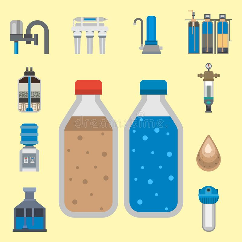 Water purification icon faucet fresh recycle pump astewater treatment collection vector illustration. stock illustration