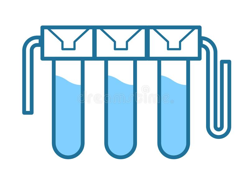 Purification and water filtration, wastewater treatment, isolated icon stock illustration