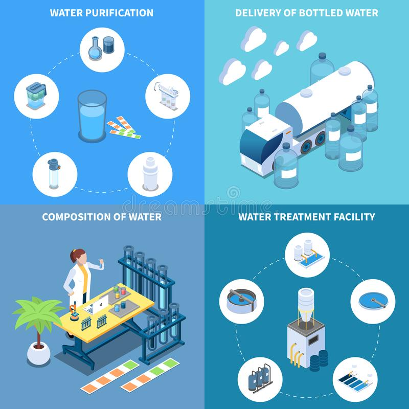 Water Purification Isometric Design Concept stock illustration