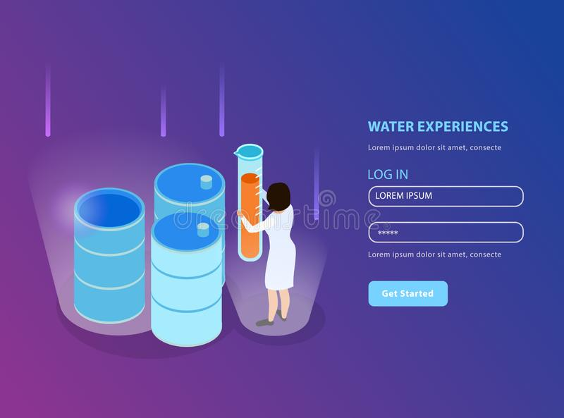 Water Purification Isometric Landing Page Composition vector illustration