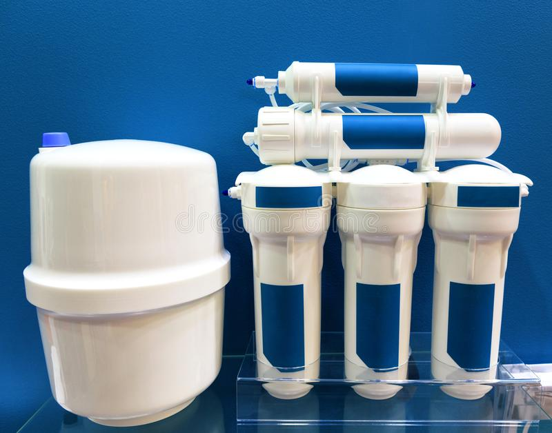 Water purification system - reverse osmosis. Water purification system concept. Internal reverse osmosis filter stock image