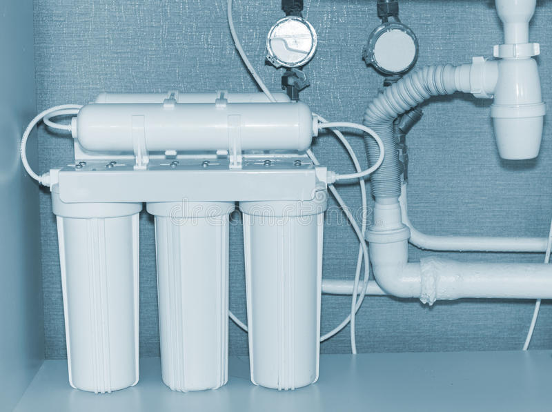 Water purification system. Reverse osmosis water purification system royalty free stock photos