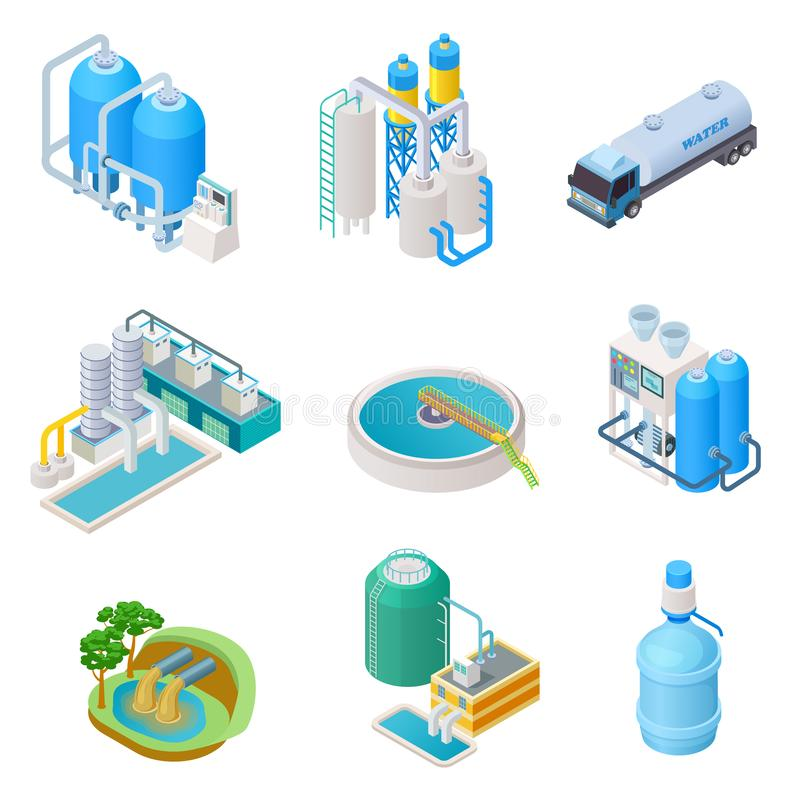 Water purification technology. Isometric treatment water industrial system, wastewater separator vector isolated set royalty free illustration