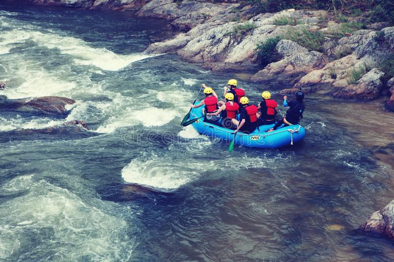 Water rafting activity in Perak Malaysia. This is one of the extreme sports run in the fast-flowing river. It is located in the My Gopeng Resort Ipoh Perak stock image