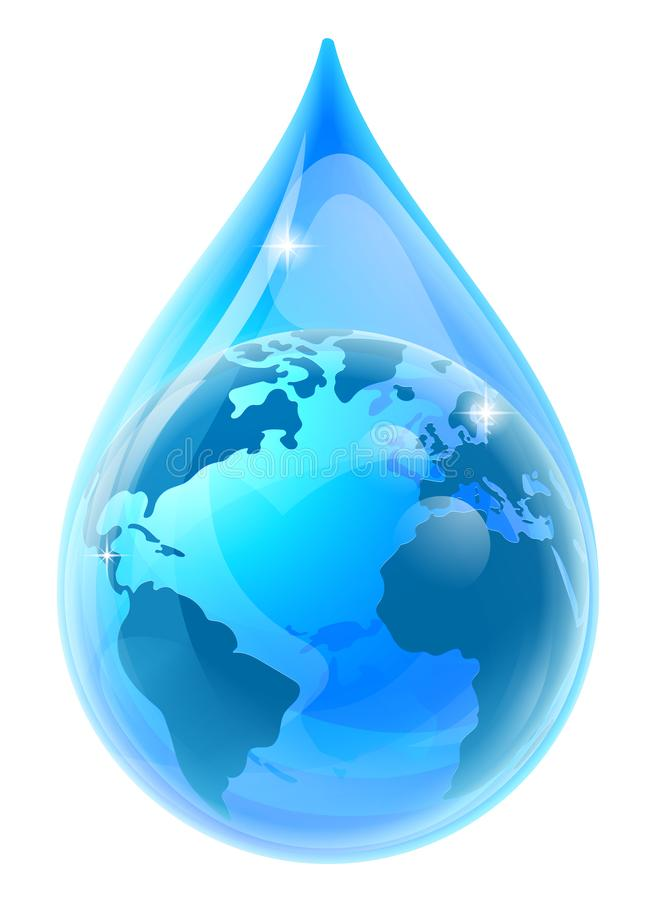 World Earth Globe Water Drop Droplet stock illustration