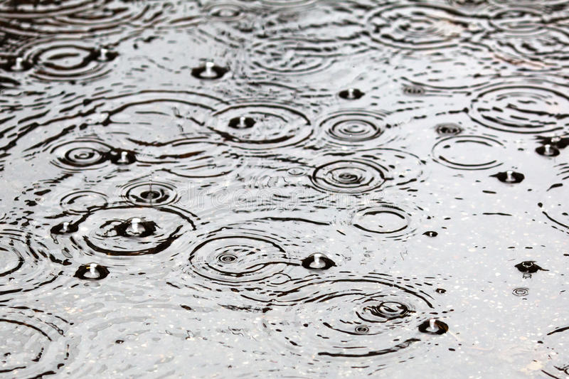Water with raindrops background stock photography