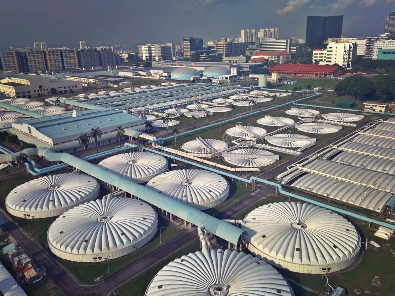 Water reclamation plant. Aerial view of Ulu Pandan water reclamation plant in Toh Guan industrial estate near Jurong East, Singapore stock photo