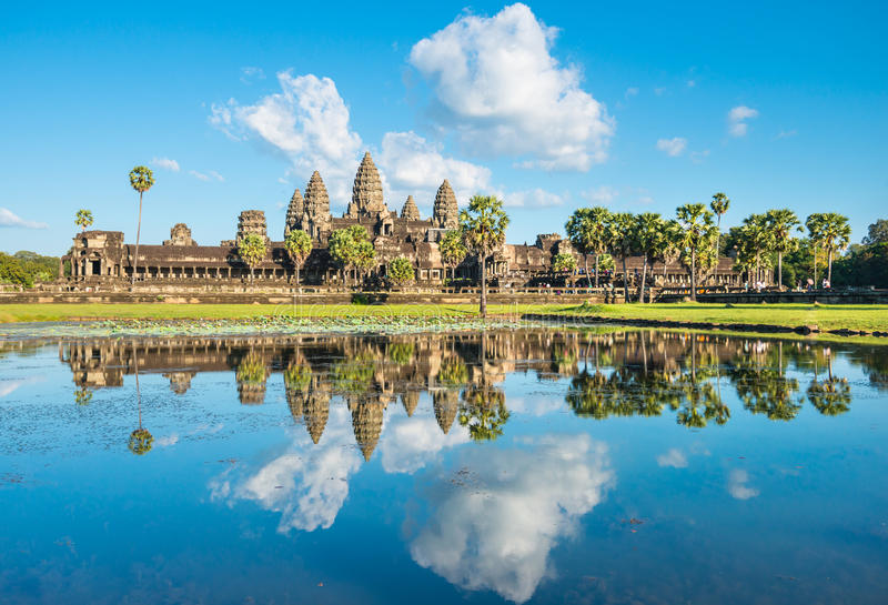 Water reflection of Angkor Wat temple in Cambodia stock photo