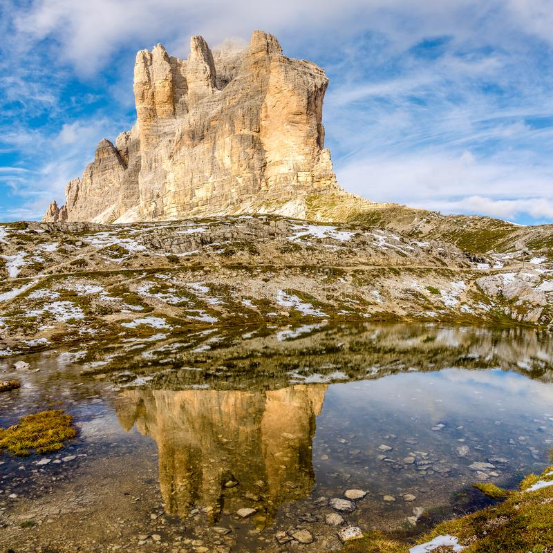 Water reflection of Cima Piccola Tre Cime di Lavaredo in Dolomites - South Tirol ,Italy. Water reflection of Cima Piccola Tre Cime di Lavaredo in Dolomites royalty free stock photography