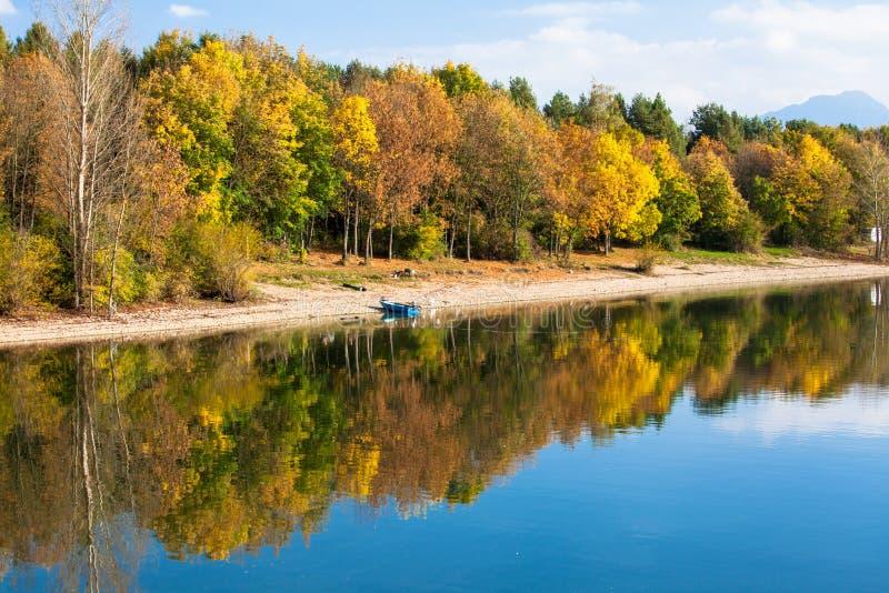 Water reflection - lake Liptovska Mara, Slovakia royalty free stock photography