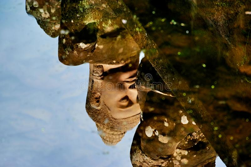 Water reflection of statue in Historic building in Angkor wat Thom Cambodia royalty free stock images