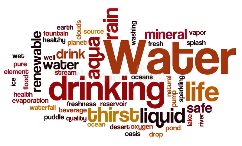 Water related words word cloud. Water typography background vector illustration