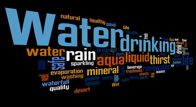 Water related words word cloud. Water typography background stock illustration