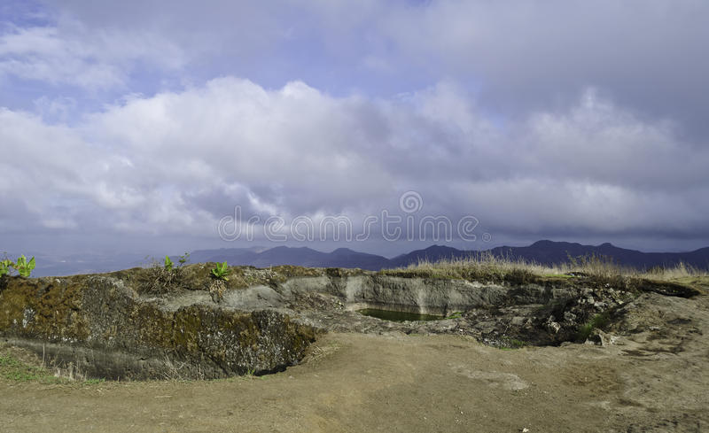 Water reservoir on mountain top royalty free stock photos