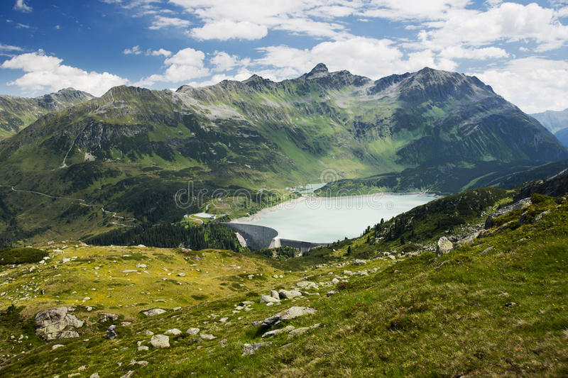 Water Reservoir In The Mountains Stock Photos