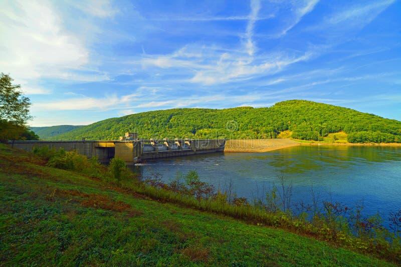 Water reservoir under intense blue sky royalty free stock photos
