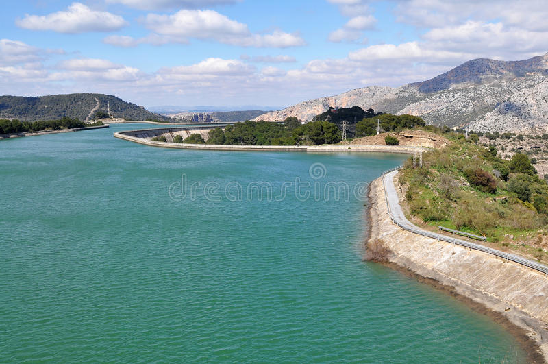 Water reserwoir. Pumping hydroelectric power station,El Chorro in Andalusie,Spain royalty free stock photography