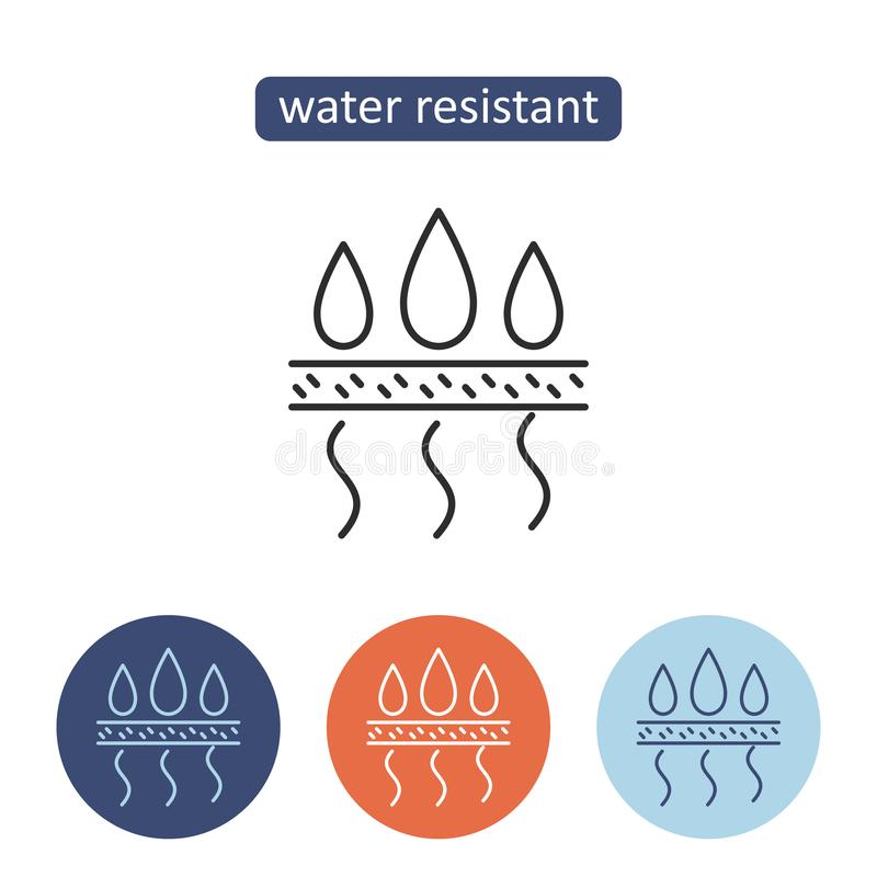 Water resistant material outline icons set. Protective fabric properties. Textile manufacturing industry sign for web design. Clothing production vector vector illustration