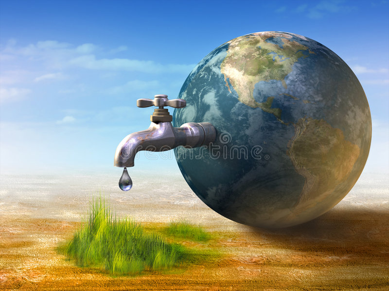 Water resource. Earth water resources generating new life. Digital illustration stock illustration