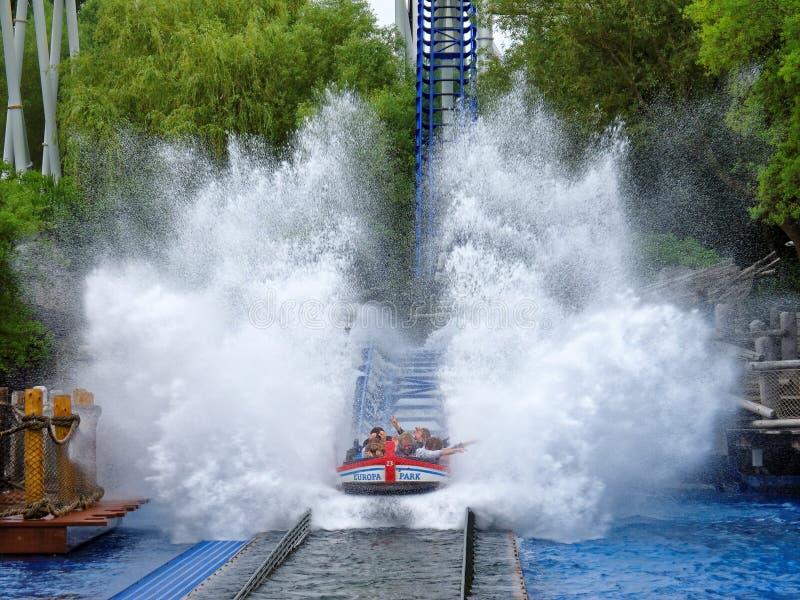 Water ride splash zone action family fun royalty free stock image